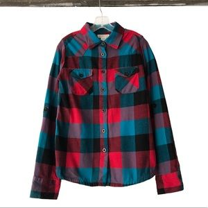 O'Neill teal & red gingham plaid flannel shirt